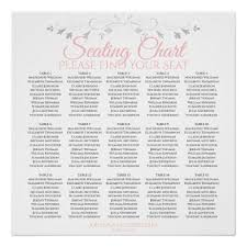 15 Table Seating Chart 15 Table Pink Gray Wedding Seating Chart Zazzle Com