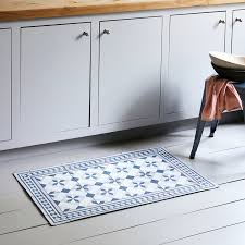 navy and blush moroccan mat in kitchen