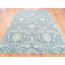 5 5 x8 1 teal blue peshawar tone on tone hand knotted oriental rug