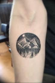 фото тату горы в круге 23072019 002 Mountain Tattoo In A Circle