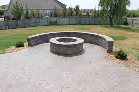 stamped concrete patio with fireplace. Stamped Concrete, Step By Curved Bench Concrete Patio With Fireplace