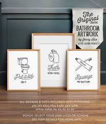image 0 on wall art set of 3 bathroom with funny wall art bathroom art printable art set of 3 etsy
