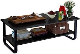 Center your space around the endlessly appealing weston home rectangle coffee table. Amazon Com Rectangular Coffee Table With Storage Shelf 48 Black Kitchen Dining