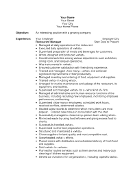 Restaurant Resume Objectives Restaurant Manager Resume Objective