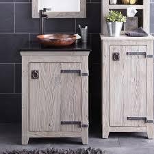 White Wood Bathroom Vanity Old Barn Wood Bathroom Vanity Stainless Steel High Arm Faucet