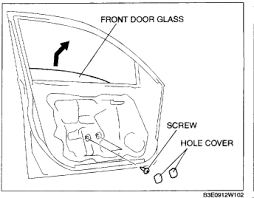 mazda i remove replace the front drivers side power window regulator remove the hole cover