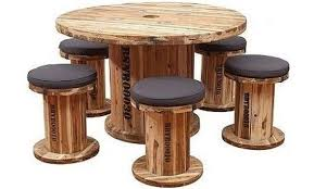table made from a large cable spool and several stools from smaller reels