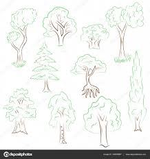 Hand Drawn Ensemble D Arbres Dessins De Vert Sapin Cypr S