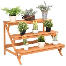 costway 3 tier wood plant stand flower pot holder shelf display rack stand step ladder 0