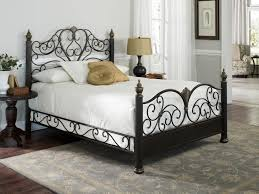Bedroom King Size Cast Iron Bed Frame Wrought Frames Queen In White ...
