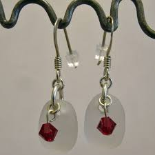 white seaglass earrings with red bead