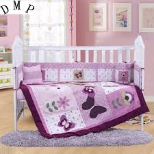 7pcs embroidery cotton baby cot bedding