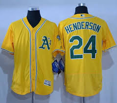 Gold Authentic Stitched Henderson Rickey Jersey 24 Athletics Flexbase Collection Baseball