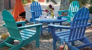 colorful blue adirondack chairs recycled plastic polywood polywood outdoor