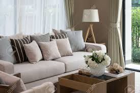 Wooden Furniture Living Room Designs Modern Living Room Design With Sofa And Wooden Lamp Stock Photo
