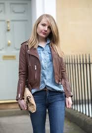 brown leather jacket all saints balfern