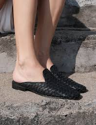 ashley summer naomi women black woven leather slide