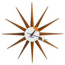 ... Extraordinary Nelson Wall Clock George Nelson Clock Vitra Brown Woods  Wall Clock With Round ...