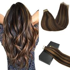 Dark To Light Ombre Hair Googoo Remy Hair Extensions Tape In Human Hair Ombre Dark Brown Highlighted Light Brown Real Hair Extensions Tape In Straight 20pcs 50g 18inch