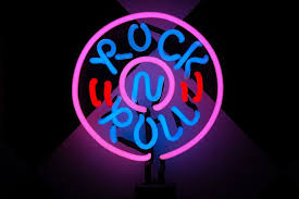 pink and blue rock n roll neon signage