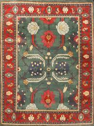 rugsville tribal pure wool persian karajeh handmade green red rug 8 4 x 11 1 tribal