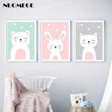 <b>NUOMEGE</b> Nursery Wall Art Prints Cartoon Animals Canvas ...
