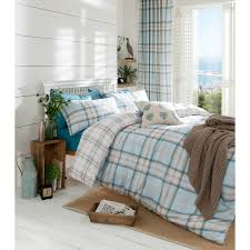 catherine lansfield kelso tartan cotton rich duvet cover set duck egg g t s original warehouse