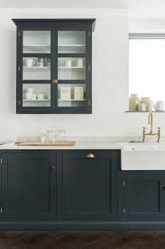 Kitchen, Classy Black Contemporary Kitchen Wall Units Designs With White  Kitchen Countertops And Glass Door ...