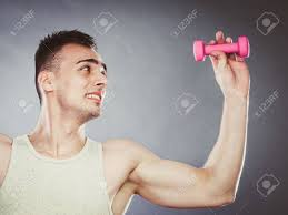 Lifting Light Weights Funny Sporty Fit Man Lifting Light Dumbbell Weight Young Muscular