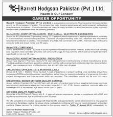 jobs in barrett hodgson pvt published in dawn newspaper wise jobs