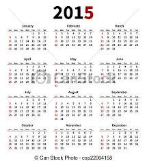 Simple 2015 Calendar Simple 2015 Year Calendar On White Background Vector Illustration
