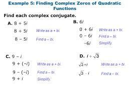 example 5 finding complex zeros of quadratic functions