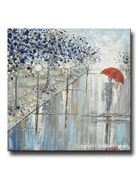 original art abstract painting couple red umbrella girl grey navy taupe city rain modern wall art 24x24  on girl with umbrella wall art with original art abstract painting couple red umbrella girl grey navy