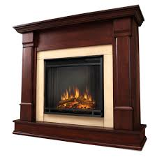 electric fireplace in dark mahogany