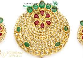 22k gold uncut diamond pendant earrings set with ruby emerald 235 dps089