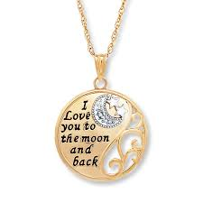 i love you to the moon back necklace 10k two tone gold tap to expand