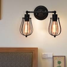 costway vintage industrial retro edison wall sconce light lamp wire caged 2 light bulb 0