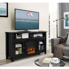 58 inch wood highboy fireplace tv stand black hover to zoom