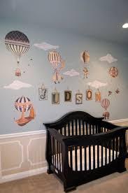 hot air balloon animals mural baby