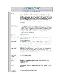 Resume Examples For Student Musiccityspiritsandcocktail Com