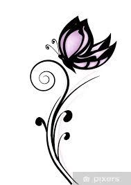 Nálepka Růžový Motýl Tetování Pixerstick