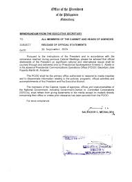 Memorandum From The Executive Secretary On Release Of Official ...