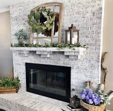 white painted brick fireplace ideas rustic look