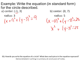 eq how do you write the equation of a circle what does each piece