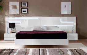 ... Furniture Drawers Wall Unit Bedroom Sets Modern White Platform Queen  Designed With Headboard And Side Tables Also Purpless ...