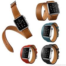 hermes luxury extra long genuine leather double tour bracelet leather strap watchband for apple watch 38mm