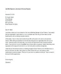 Job Offer Rejection Letter Sample Free Job Offer Letter Example Rejection Letters Free Sample Format