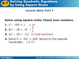 lesson quiz part 1 solve using square roots check your answers 1