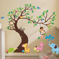 cute monkey wall sticker zoo original animal wall arts for kids room tree wall decal baby on childrens room wall art with cute monkey wall sticker zoo original animal wall arts for kids room