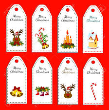 Set Of Eight Holiday Christmas Labels Stickers Card With Jingle